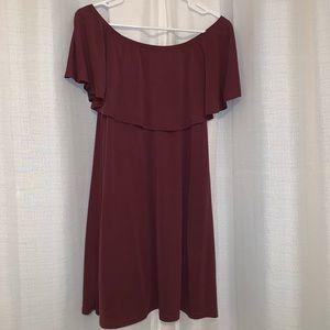 Plum Off the Shoulder Dress